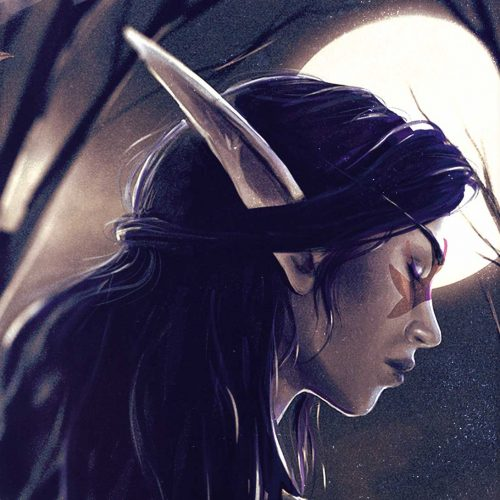 night elf, moon, portrait, profile, elf, sadness, calm, serene