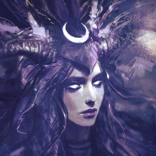 moon, selene, night, goddess, white eyes, horns, headdress